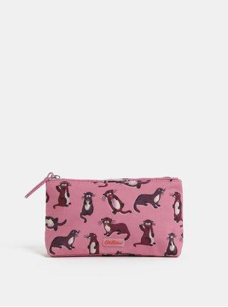 Tmavoružová vzorovaná kozmetická taška na zips Cath Kidston