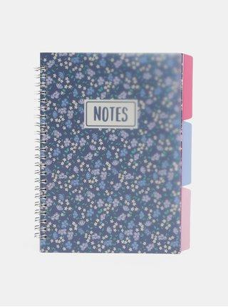 Modrý kvetovaný zápisník Cath Kidston A5