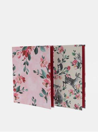 Súprava dvoch kvetovaných šanónov v ružovej a krémovej farbe Cath Kidston