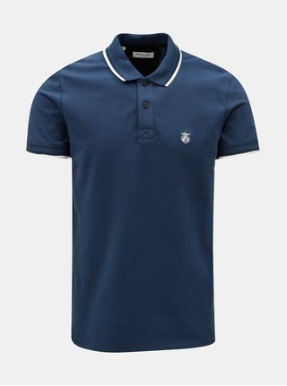 Tricou polo petrol cu broderie Selected Homme New season