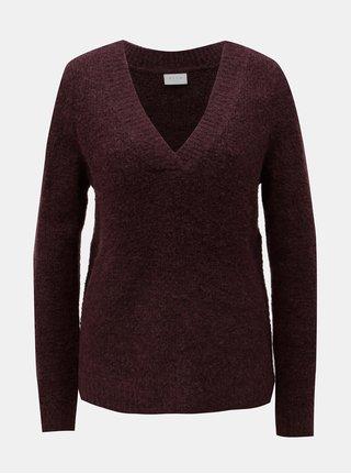 Vínový sveter s prímesou vlny VILA Place