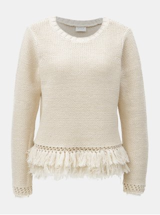 Krémový svetr s třásněmi VILA Charri