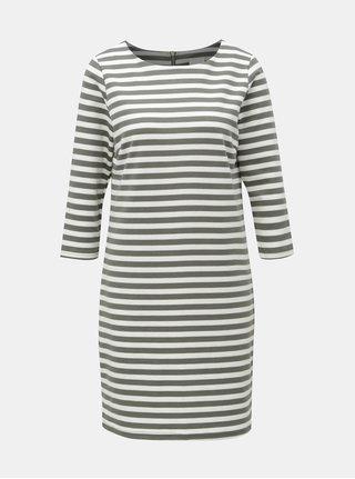 Bílo-zelené pruhované šaty s 3/4 rukávem VILA Tinny