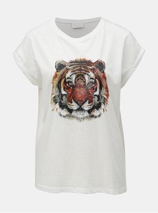 Bílé tričko s třpytivým potiskem VILA Tiger Attack