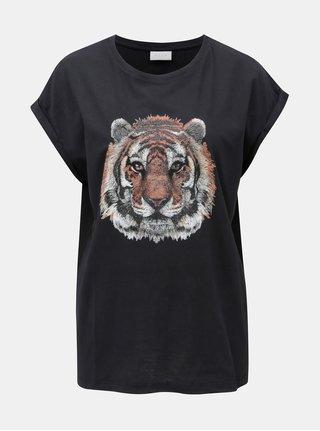 Tricou negru cu print stralucitor VILA Tiger Attack