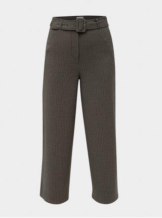 Hnědé široké kostkované kalhoty s páskem VILA Lub