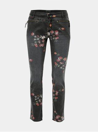 Sivé dámske slim fit rifle s kvetinovou potlačou Garcia Jeans
