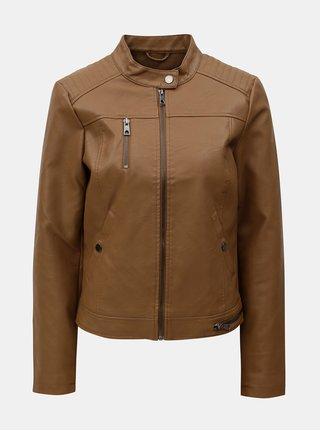 Hnedá koženková bunda VERO MODA