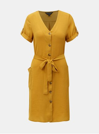 Horčicové košilové šaty Dorothy Perkins