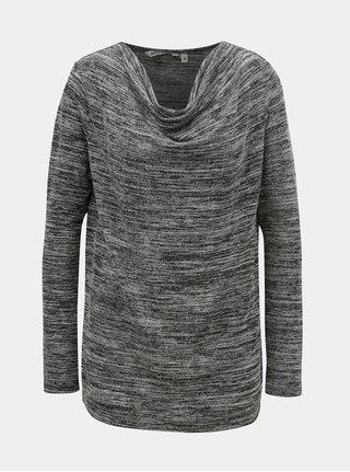 Čierno-sivé dámske melírované tričko s dlhým rukávom Garcia Jeans