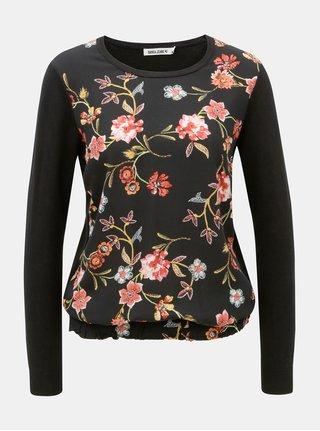 Čierne dámske kvetované tričko s dlhým rukávom Garcia Jeans
