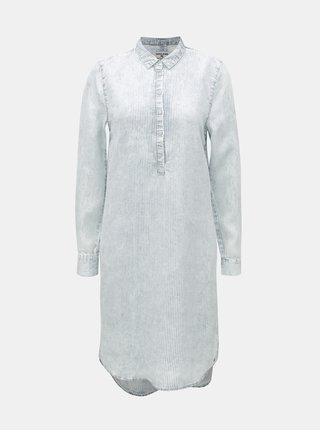 Svetlomodré pruhované košeľové šaty Garcia Jeans