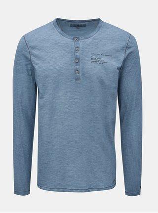 Modré žíhané pánské tričko s dlouhým rukávem Garcia Jeans