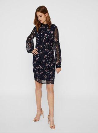 269b25ee10b2 Tmavomodré kvetované šaty s dlhým rukávom VERO MODA