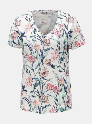 Biele dámske kvetované tričko Garcia Jeans