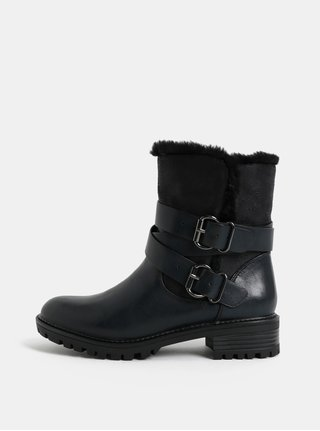 Černé kotníkové boty s umělým kožíškem Dorothy Perkins Arctic