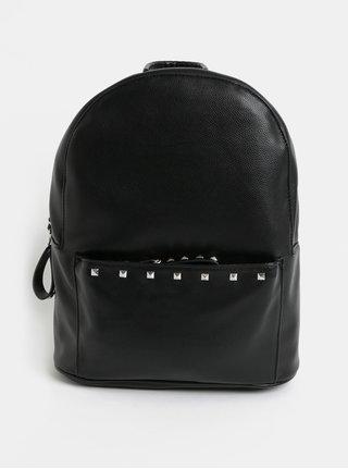Čierny koženkový batoh s pyramídkami Pieces Allie