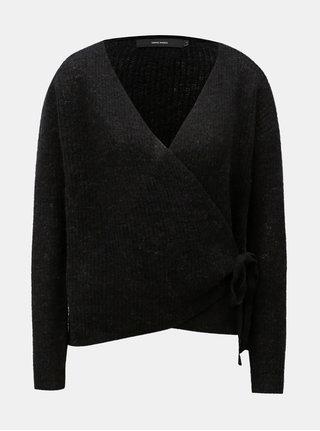 Černý vlněný zavinovací svetr VERO MODA