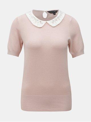Tricou roz cu guler din dantela Dorothy Perkins