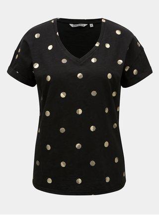 Čierne dámske bodkované tričko Garcia Jeans
