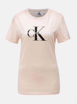Růžové dámské tričko s potiskem Calvin Klein Jeans e86b2becd5