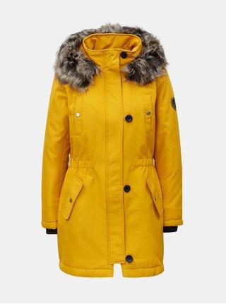 Žltá zimná parka s kapucňou ONLY