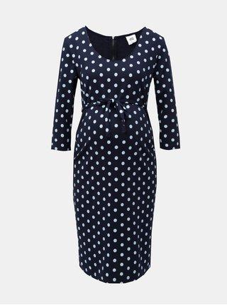 Tmavomodré tehotenské bodkované šaty Mama.licious Blackie