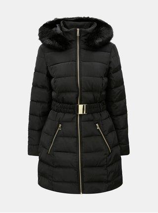88530cb4884 Černý zimní prošívaný kabát s odnímatelným páskem a umělou kožešinou  Dorothy Perkins