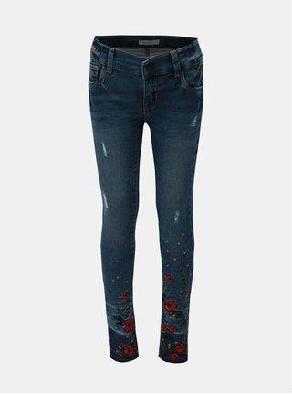 Modré holčičí džíny s květovanou výšivkou Name it Siggi