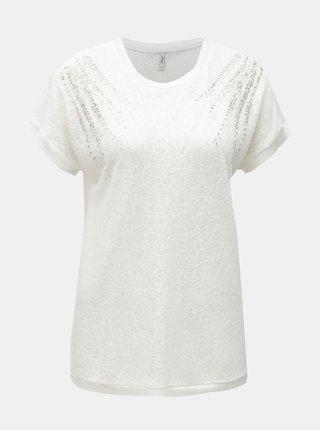 Biele tričko s korálkovou aplikáciou ONLY