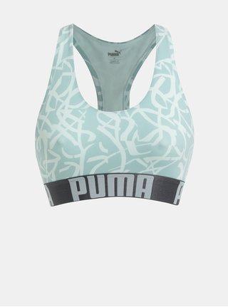 Mentolová vzorovaná sportovní podprsenka Puma