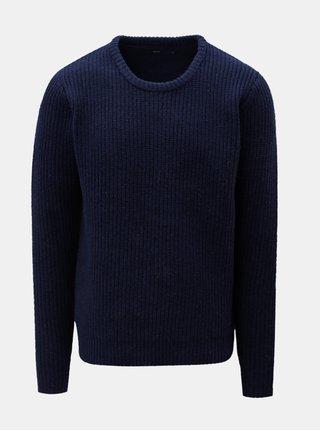 Tmavomodrý vlnený sveter SUIT Carsten