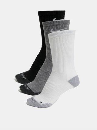 Súprava troch párov unisex funkčných ponožiek v čiernej a bielej farbe Nike Everyday