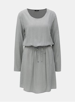 Rochie negru-alb cu model si snur in talie ONLY