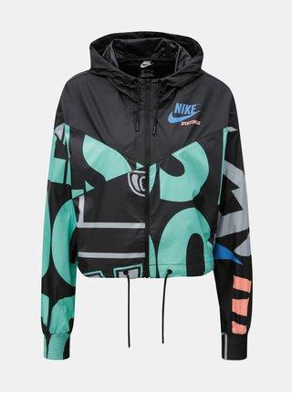Zeleno-černá dámská krátká vzorovaná bunda Nike