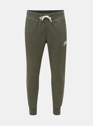 Khaki pánské žíhané regular fit tepláky Nike Heritage