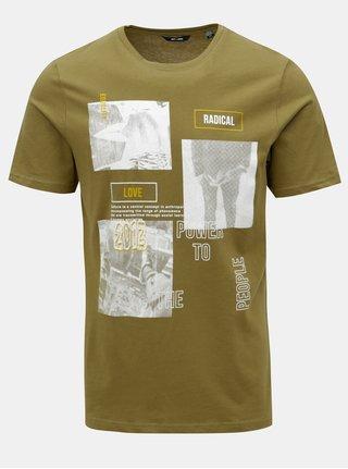 Kaki tričko s potlačou ONLY & SONS
