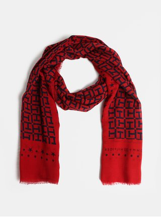 Modro-červený dámský šátek Tommy Hilfiger Monogram