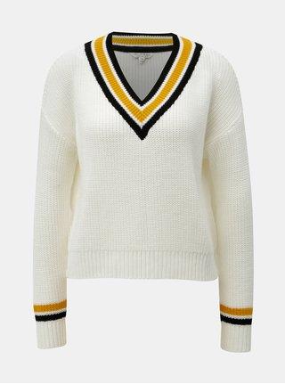 Krémový sveter s pruhovaným lemovaním Miss Selfridge