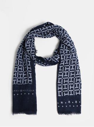 Modrý dámský vzorovaný šátek Tommy Hilfiger Monogram