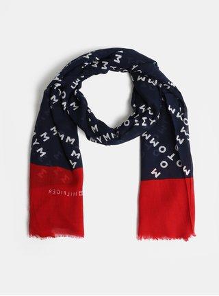Červeno-modrý vzorovaný šátek Tommy Hilfiger Corporate 1881e2e3ed