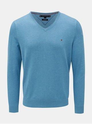 Modrý pánský žíhaný svetr s příměsí hedvábí Tommy Hilfiger Silk