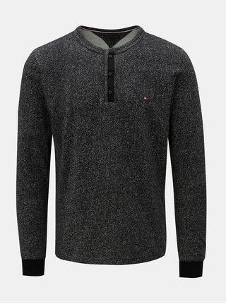 Čierne pánske melírované tričko Tommy Hilfiger Henley