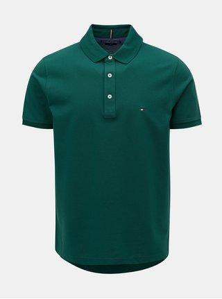 Tmavě zelené slim fit polo tričko Tommy Hilfiger