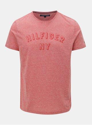 Červené pánske melírované tričko s potlačou Tommy Hilfiger