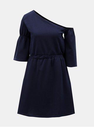 Rochie albastru inchis cu decolteu asimetric ELVI