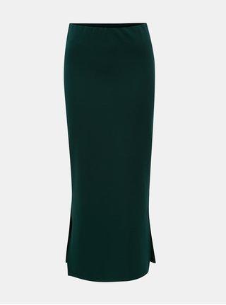 Tmavozelená puzdrová sukňa s rozparkami Noisy May