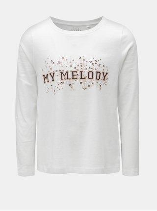 Biele dievčenské tričko s potlačou Name it Volet