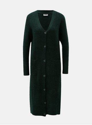 Cardigan verde inchis lung cu amestec de lana Noisy May