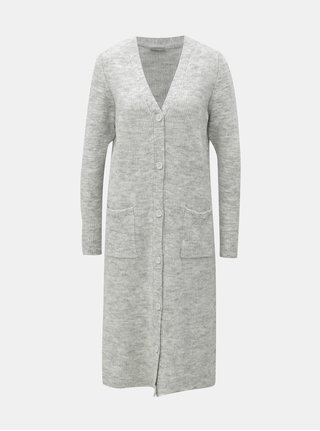 Cardigan lung gri deschis melanj cu amestec de lana Noisy May